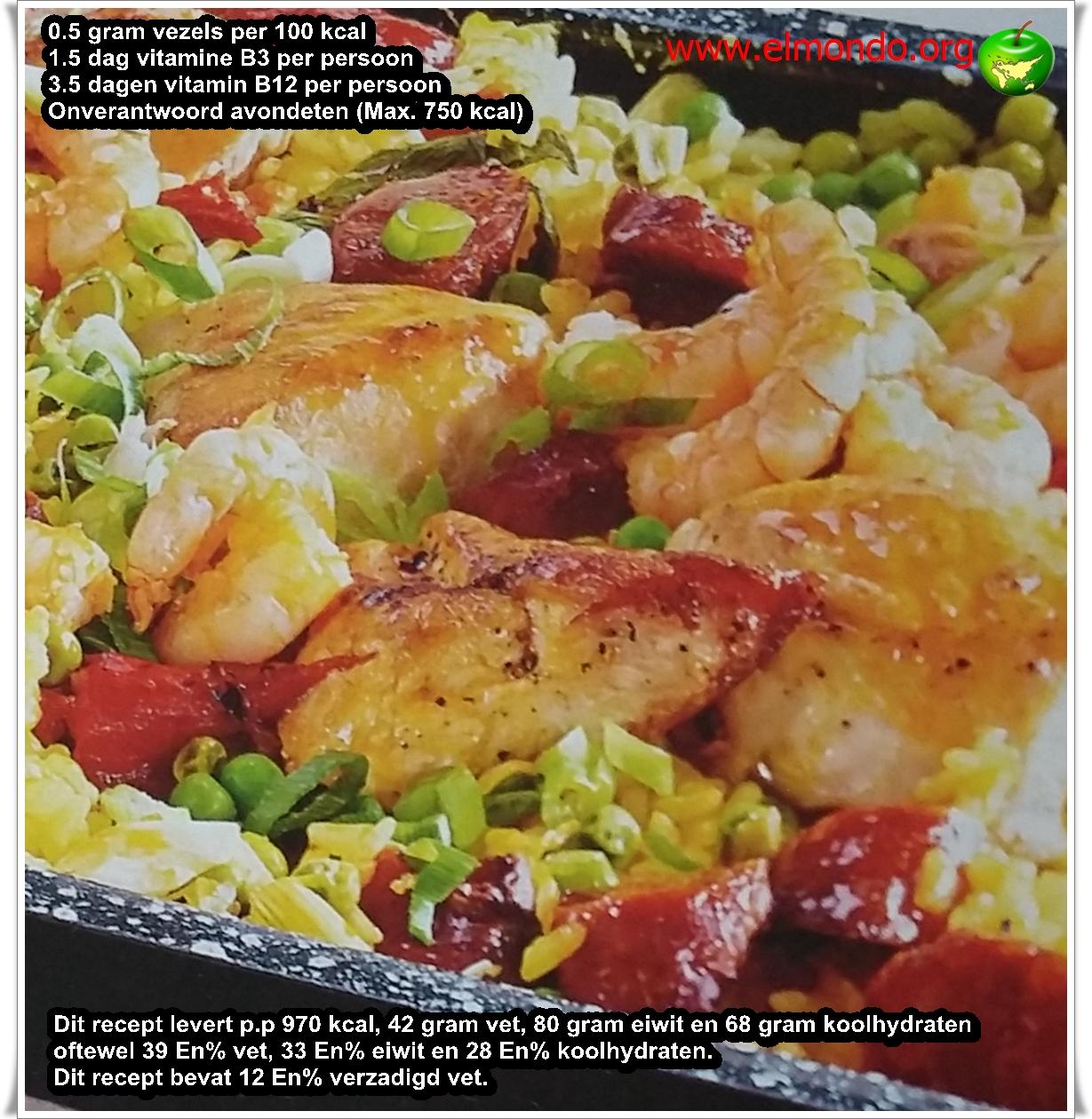 Spaanse kippenpaella uit de oven voor 4 personen